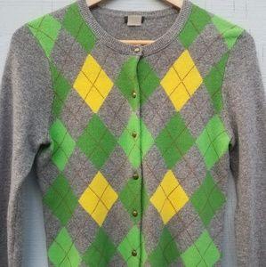 J. Crew | Argyle Cardigan Sweater Wool Cashmere